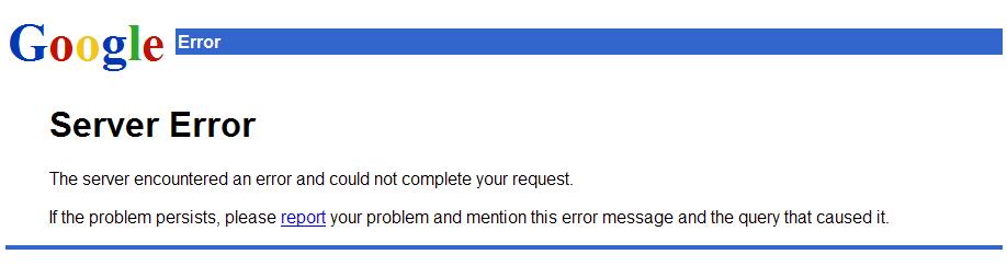 500 Server Error в Google