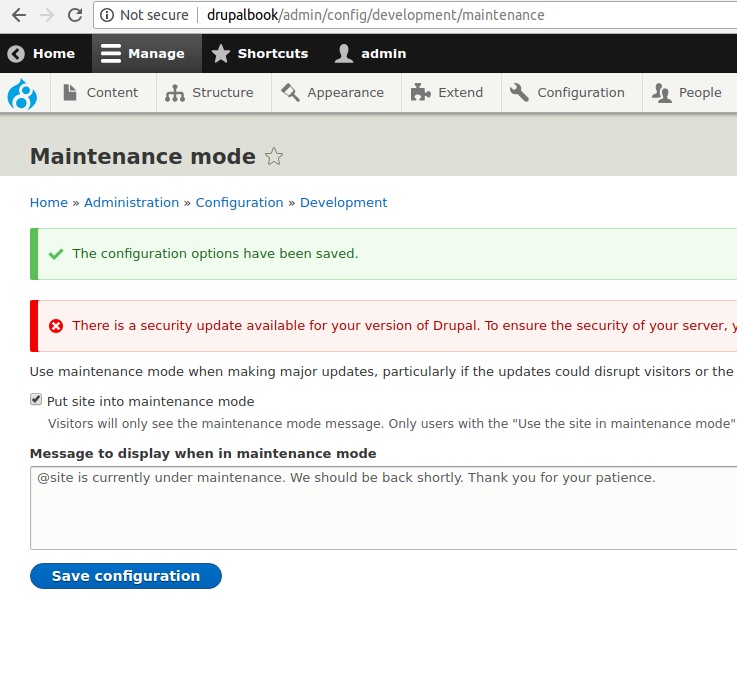 Drupal 8 Maintenance mode